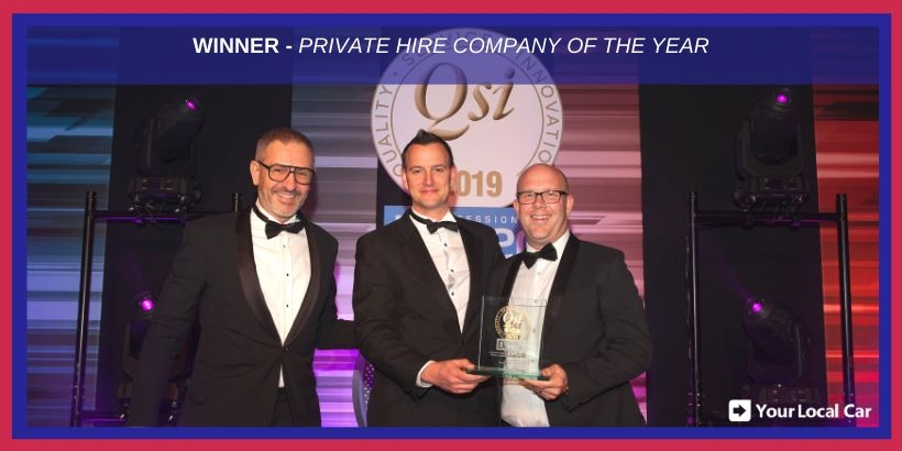 Managing Director Peter White (right) and Head of Operations Mark Knowles (left) with the QSi Gold award for Your Local Car.